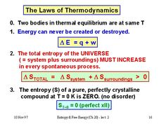 Laws of Thermodynamics. There are many equivalent ways of stating the Second Law, but irreversibility is generally part of a good definition. If a statement implies a process can only go in one direction, it could be a consequence of the Second Law. Engineering Science, Chemical Engineering, Teaching Science, Science Education, Science And Technology, Chemistry Notes, Chemistry Lessons, Physical Chemistry, Physics Formulas