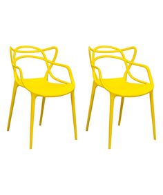 Take a look at this Yellow Delicately Designed Dining Chair - Set of Two today!