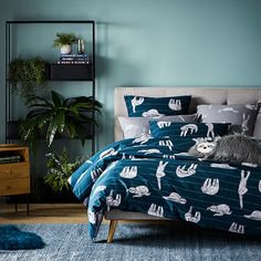 Home Republic - Sidney Sloth Quilt Cover Set Blanket Cover, Quilt Cover Sets, Bedroom Sets, Bedding Sets, Bedrooms, Home Republic, Navy Quilt, Single Quilt, Little Girl Rooms