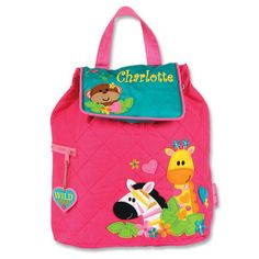 Personalized Pink Safari Fun Embroidered Backpack