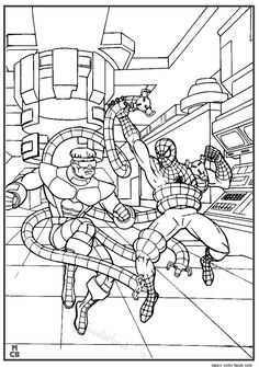 SpiderMan coloring pages 9 / SpiderMan / Kids printables coloring Spiderman Fight, Marvel Fight, Spiderman Kids, Boy Coloring, Coloring Pages For Kids, Coloring Sheets, Coloring Books, Mermaid Coloring Pages, Free Coloring Pages