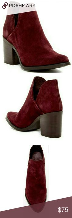 "Steve Madden Burgundy Suede Prezzie Bootie These split shaft booties by Steve Madden are gorgeous in a deep burgundy color and soft suede.  The split shaft is a unique detail.  Classy Almond Toe, stacked block heel.  4.5""shaft height 10.5"" opening circumference.  Heel 3.25"" NIB Steve Madden Shoes Ankle Boots & Booties"