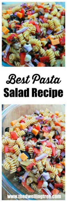 AD Best Pasta Salad for Picnics and Potlucks. Super easy pasta salad made with pepperoni, black olives, marinated artichoke hearts, cheddar cheese, red onion, tomatoes, chicken, and italian dressing! A crowd pleaser for any picnic or potluck! #OneBowlWonder #ad