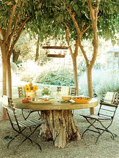 Love this. Might have to try this for my dream home. Love the trees planted fairly close together to create a nice, shaded sitting area. Great idea to use leave the stump of the old one to use as a table base. And the crushed rock is a great idea for underfoot.