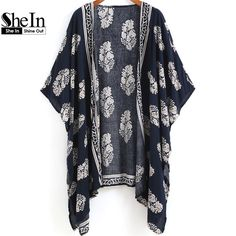 SheIn 2016 Summer Beach Wear Ladies Loose Tops Navy Vintage Floral Print Half Sleeve Open Front Casual Cardigans Kimono