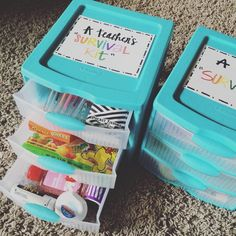 This year's teacher gifts! 'A+ Teacher Survival Kits' 💕 Our love for our teachers is somethin' fierce. Teacher Aide Gifts, Teacher Gift Baskets, Teacher Birthday Gifts, Teachers Aide, Teacher Appreciation Week, Birthday Presents, Mentor Teacher Gifts Student Teaching, Teacher Graduation Gifts, Basket Gift