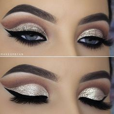 Cut Crease Makeup Makeup for prom -- prom eye makeup or prom makeup for red dress Click VISIT link above to read Prom Eye Makeup, Glitter Eye Makeup, Eye Makeup Tips, Makeup Goals, Makeup Inspo, Eyeshadow Makeup, Bridal Makeup, Wedding Makeup, Makeup Inspiration