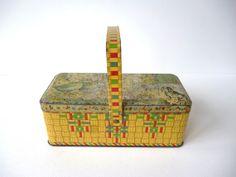 Antique french children colorful metal basket by LeChevaldeBois, $30.00