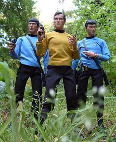 "Spock, Captain Kirk and Dr. McCoy played by Leonard Nimoy, William Shatner and DeForest Kelley from the TV show ""Star Trek"". Star Wars Boba Fett, Star Wars Clone Wars, Star Wars Art, Star Trek Toys, Lego Star Wars, Thundercats Costume, Star Trek Tattoo, Pop Culture Trivia, Star Trek Action Figures"
