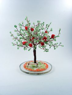Items similar to Apple Beaded Tree - Home Decoration / Business Card Holder on Etsy Art Business Cards, Business Card Holders, French Beaded Flowers, Crochet Flowers, Tree Sculpture, Wire Sculptures, Biscuit, Tree Of Life Art, Fairy Garden Furniture