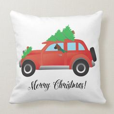 Boxer Dog Driving a car - Christmas Tree on Top Throw Pillow - tap/click to get yours right now! #ThrowPillow #red #car #dog #driving #tree