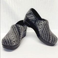 BRAND NEW! Aztec design clogs Sanita size:35 cotton/leather clogs. Never worn! NWOT! Sanita Shoes Mules & Clogs