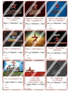 Houston Astros Printable Digital Personalized Valentines Day Cards #1