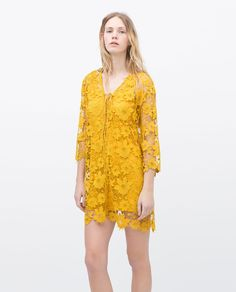I would wear this as a tunic: TIE NECKLINE GUIPURE DRESS - View all - Dresses - WOMAN | ZARA United States
