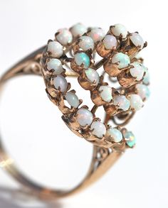 Antique 10k Yellow Rose Gold 30 Genuine Opal Swirl Cocktail Dome Ring Size 6 1/4