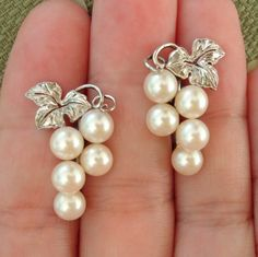 b17127b39 LUMINOUS Mikimoto Akoya Pearls Grapes & Grape Leaf Sterling Earrings, 1940's  & Hallmarked: 257-1780: Removed