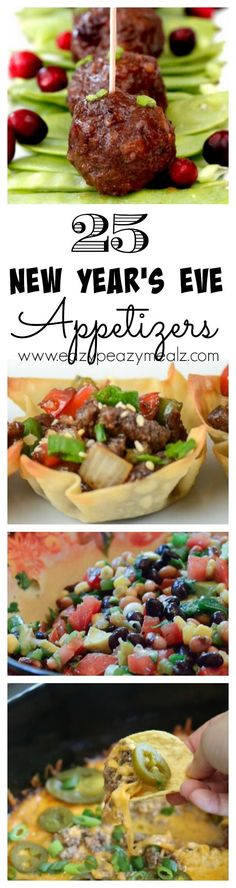 25 New Year's Eve Appetizers: A list of fantastic appetizers perfect for a party, a football game gathering, or NYE! So many good ones, how will you choose? - Eazy Peazy Mealz