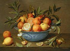 Stilleven met sinaasappels en citroenen in een Wan-Li schaal - Jacob van Hulsdonck - 17de eeuw