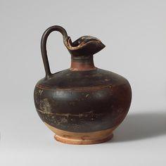 Terracotta oinochoe (jug) with lid