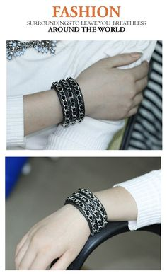 Nice Black chains decorated simple design Alloy Korean Fashion Bracelet,Korean Fashion Bracelet http://earrings.asumall.com/