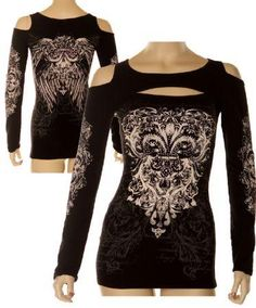 Folter Clothing - Cut Out Top with Fleur De Lys Design : Gothic Clothing, Gothic Boots & Gothic Jewellery. New Rock Boots, goth clothing & goth jewellery. Goth boots and alternative clothing