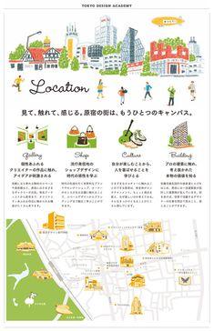 「TDA SCHOOL GUIDE BOOK 2015」 Map Layout, Poster Layout, Tokyo Design, Japan Design, Web Design, Book Design, Dm Poster, Leaflet Design, Japanese Graphic Design