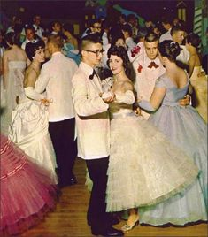 Teens, 1959 Prom at Collinsville High School, 1959 color photo cotillion evening formal wear white pink blue tulle satin strapless gloves shoes long dress gown late 50s early 60s found photo