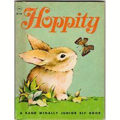 Hoppity 1967 Rand McNally Junior Elf Children's Rabbit Book 8144