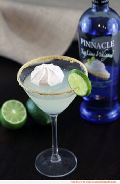 key lime pie martini | 2 tablespoons graham cracker crumbs  1 tablespoon sugar  2 ounces Pinnacle Key Lime Whipped Vodka  1 ounce simple syrup  1 ounce triple sec  1 ounce lime juice
