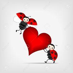 two happy ladybugs holding big red heart: Royalty-free vector graphics Lady Bug, Emoji, Heart Tattoo Designs, Free Vector Graphics, Grafik Design, Heart Art, Cute Illustration, Wonderful Images, Rock Art