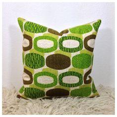 Cushion Cover Vintage 70s Retro Fabric 16 x 16 Green by Retro68 £16