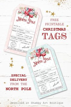 Special Delivery North Pole Christmas Tags - free to download from Shabby Art Boutique Free Printable Christmas Gift Tags, Christmas Tag, Christmas And New Year, Handmade Christmas, Christmas Decor, Christmas Inspiration, Xmas Ideas, Clip Art Pictures, True Meaning Of Christmas