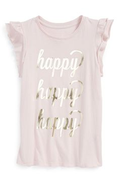 Free shipping and returns on Peek 'Happy' Foil Print Ruffle Sleeve Tee (Toddler Girls, Little Girls & Big Girls) at Nordstrom.com. The ruffled, fluttering sleeves and golden-glint script of this soft cotton tee is sure to put a smile on her happy face.