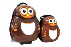 """CUTIES AND PALS KIDS BOY GIRL 17"""" CARRY-ON TROLLEY LUGGAGE + 13"""" BACKPACK - OWL. Material : ABS+Polycarbonate Mix. High Quality. Light Weight. Sturdy. Durable. Two wheeled carry-on. Luggage : 17"""" H x 12"""" x 10"""" Weight : 3.97 lbs. Backpack : 13"""" H x 11"""" x 5"""" Weight : 2.2 lbs. PLEASE PEEL OFF THE PROTECTIVE FILM ON THE HARD SHELL OF BOTH ITEMS TO SEE THE BEAUTIFUL GLOSSY FINISH."""