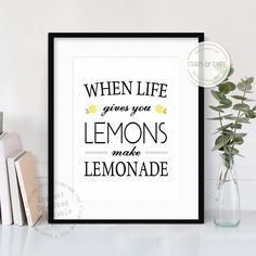 When life gives you lemons make lemonade, Printable wall art quote, Black typography design, Kitchen Wall Decor, 8x10 Digital Print Jpeg PDF by StarsAndType on Etsy