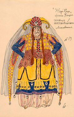 Costume design by Alexandre Golovine (1863-1930), undated, L'Oiseau de Feu, Kostcheï's Wife, watercolor and ink.