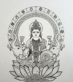 Ganesha Painting, Ganesha Art, Madhubani Painting, Outline Drawings, Art Drawings Sketches, Pencil Art Drawings, Pencil Sketching, Mandala Drawing, Mandala Art