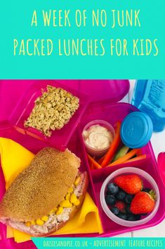 ad-Healthy lunch box ideas for kids - get our simple, no fuss week of junk free, healthy lunches for kids. Healthy lunchbox ideas kids will love! Kids Lunch Menu, Kids Packed Lunch, Healthy Packed Lunches, Healthy Meals For Kids, Kids Meals, Lunch Box, Healthy Recipes, Homemade Pasta Salad, Mini Blueberry Muffins