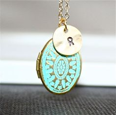 Personalized Locket  Necklace, Gold Patina Locket, Custom Initial Necklace, Blue Locket by smilesophie on Etsy https://www.etsy.com/listing/116043187/personalized-locket-necklace-gold-patina