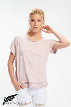 Camiseta estrella rosa palo