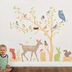 Woodland Scene Earthy Reusable Fabric Wall Sticker