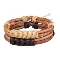 Pulsera de cuero trenzado genuino cuero hombres y para mujer del estilo del verano Pulsera 2 colores