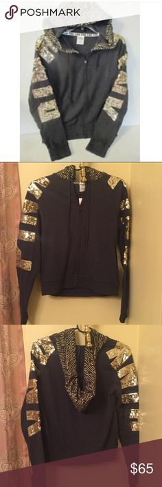NEW PINK BLING HOODIE New PINK bling hoodie in charcoal grey with gold..logo in gold sequins on both sleeves..size is XS..logo all over hood in gold..brand new with tags..refer to pics.. PINK Victoria's Secret Sweaters