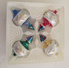 4 Bradford Imported Glass Christmas Ornaments Hand Painted Vintage Finials