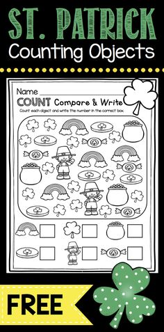 FREEBIE Count Compare and Write for St. Patrick's Day - Leprechaun Numbers - lucky March math center for kindergarten patricks day ideas for school March Math & ELA Kindergarten Pack - No Prep FREEBIES — Keeping My Kiddo Busy Kindergarten Montessori, Kindergarten Freebies, Cardinality Kindergarten, St Patricks Day Crafts For Kids, St Patrick's Day Crafts, Kids Crafts, Professor, Curriculum, St Patrick Day Activities