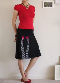 Womens cute skirts, Pull on knit skirt, Midi skirt, Black a line skirt, Handmade Applique Black Knee Length A line Skirt -Legs on the wall-I would wear a large