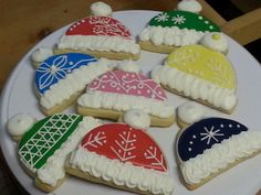 Winter hat sugar cookies, by Baked Ambition.