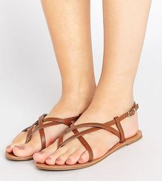 84ea60cda7ae Get this Asos s flat sandals now! Click for more details. Worldwide  shipping. ASOS FROLIC Wide Fit Flat Sandals - Tan  Sandals by ASOS  Collection