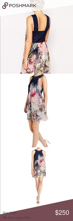 b9f49e7f3 Ted Baker navy Blue floral dress Very classy and expensive Ted Baker dress