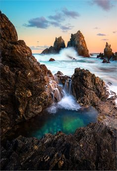 Emerald Pool in Bermagui, Australia Around The World In 80 Days, Places Around The World, Around The Worlds, Tasmania, Beautiful World, Beautiful Places, Amazing Places, Amazing Photography, Landscape Photography